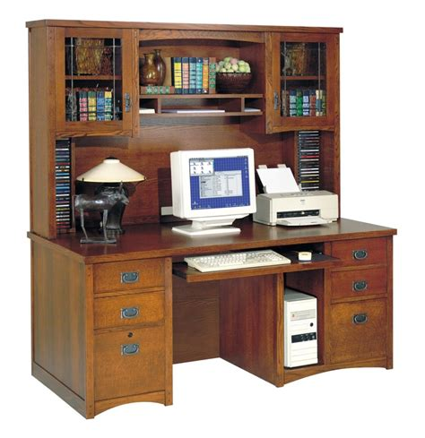 l shape brown wooden computer desk with five hutch feat