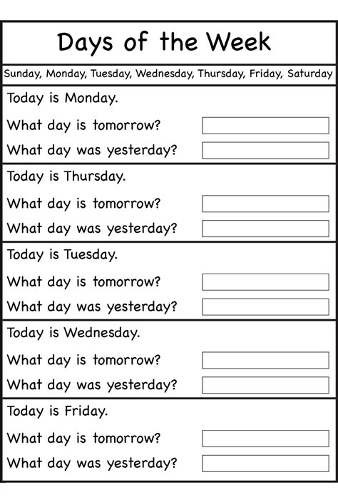 Days Of The Week In Worksheet by Days Of The Week Worksheets Activity Shelter
