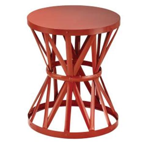 hton bay outdoor bar stools hton bay 18 9 in round metal garden stool in chili