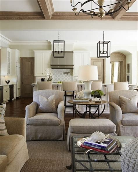 open floor plan decor this neutral family room is open to the lee caroline a world of inspiration htons style an