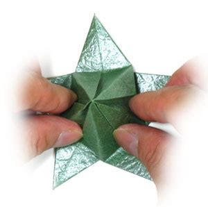 Origami Flower Base - how to make a five sepals candlestick origami flower base