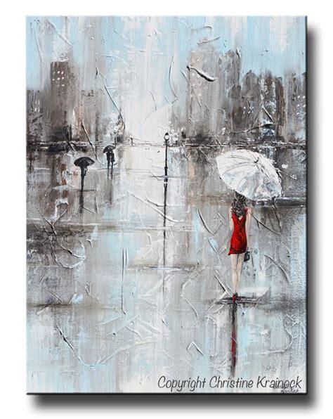 modern printable wall art giclee print art abstract painting girl white umbrella red