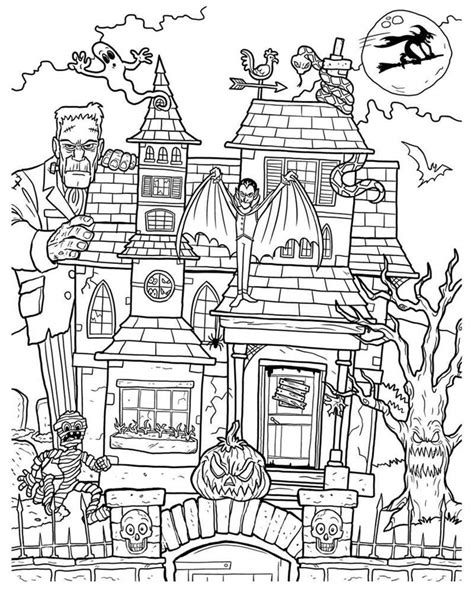 haunted house coloring pages adults haunted house coloring pages free printable