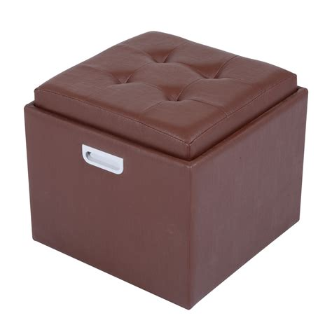 brown storage ottoman with tray homcom 14 quot tufted square storage ottoman with tray brown