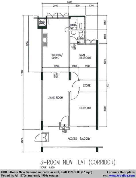 3 Room Flat Floor Plan Hdb History Photos And Floor Plan Evolution 1930s To