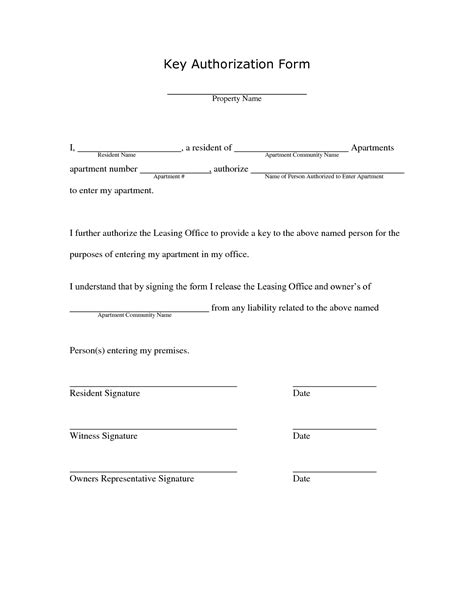 Best Photos Of Key Agreement Template Employee Key Holder Agreement Key Authorization Release Key Agreement Template