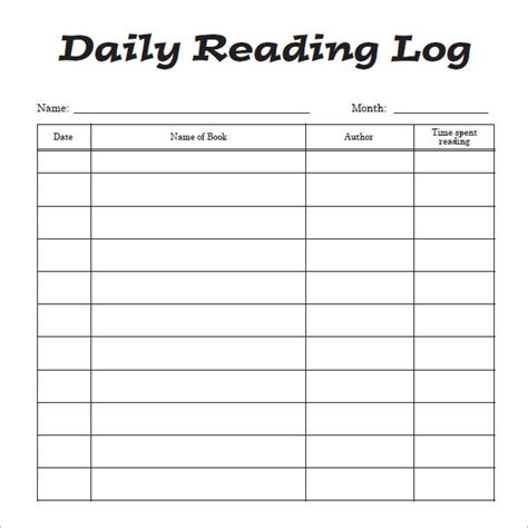 printable daily reading log with parent signature reading log template 9 download free pdf doc