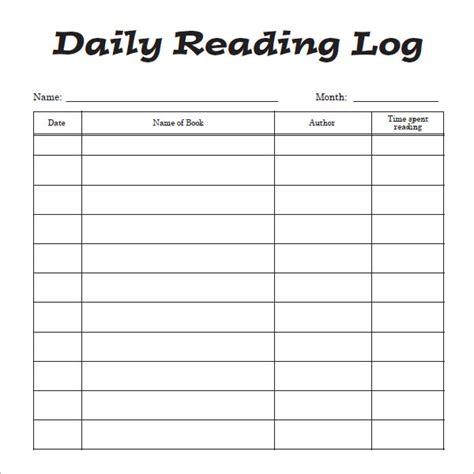 sample reading log templates word sample