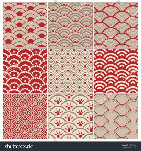 unix pattern whitespace traditional red seamless wave pattern set stock vector