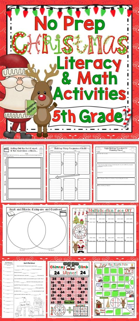 christmas activities 5th grade literacy and math no prep