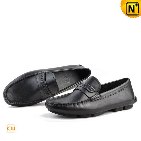black slip on loafers mens slip on leather driving shoes loafers cw740306