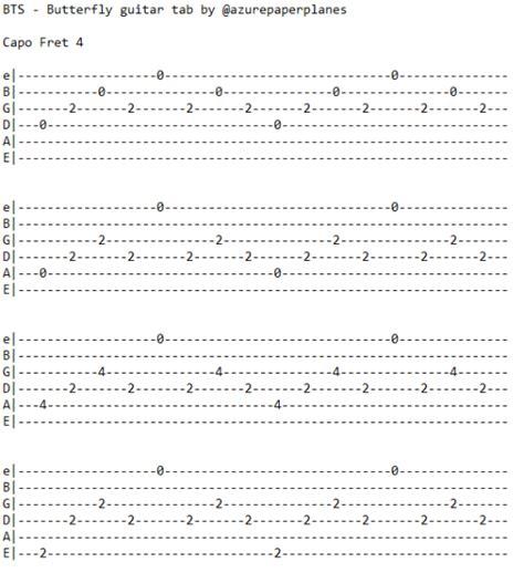 Bts Chords | azurepaperplanes bts butterfly guitar tab