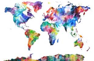Watercolor World Map by Custom World Map Painting For Victoria
