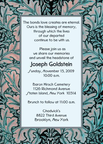 unveiling of tombstone invitation wording is cool layout to create