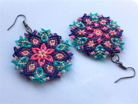 imagenes de mandalas en macrame kaleidoscope mandala earrings macrame knotted sn by