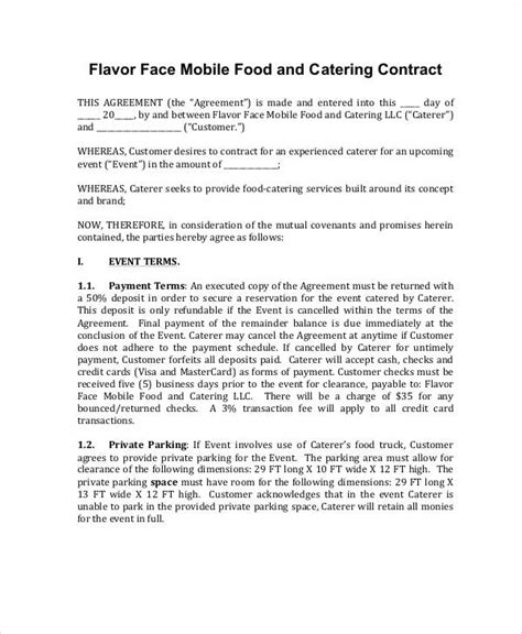 7 Contract Food Service Sles Sle Templates Food Service Contract Template