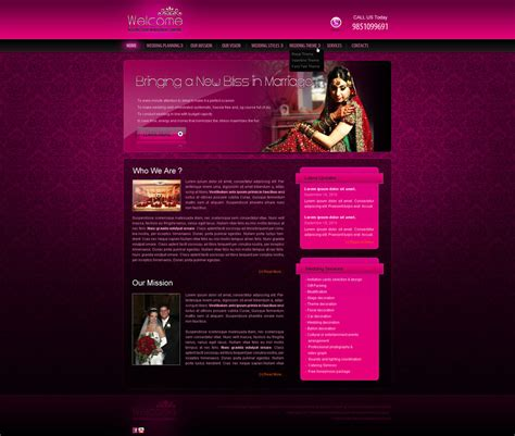 Wedding Event Website by Wedding Event Management Web Template By Crazeeartist On
