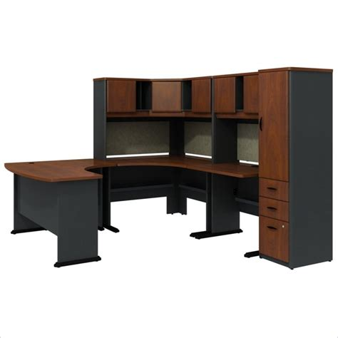 U Shaped Desks With Hutch Bush Bbf Series A Hansen Cherry U Shaped Desk With Hutch And Storage Bsa056 944