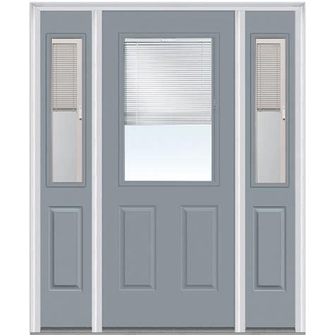 Exterior Doors With Blinds Doorbuild Mini Blinds Collection Fiberglass Smooth Entry Door Cloud 64 1 2