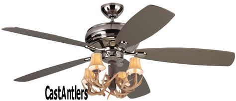 Antler Ceiling Fan With Light by Standard Size Fans 52 Quot Embassy Polished Nickel 4 Light Antler Ceiling Fan Rustic Lighting