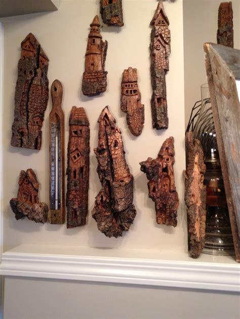 whimsical bark houses hand carved  cottonwood bark