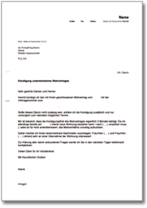 Vorlage Word Mietvertrag K 252 Ndigung Mietvertrag Mieter Nachmieterangebot De Musterbrief