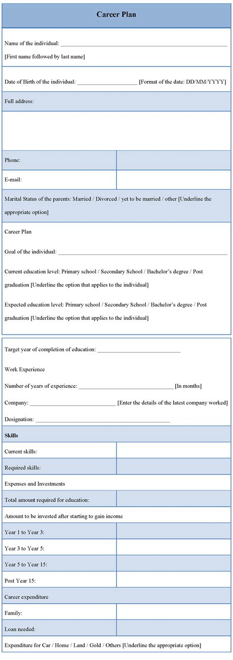 career plan template sle sle of career plan