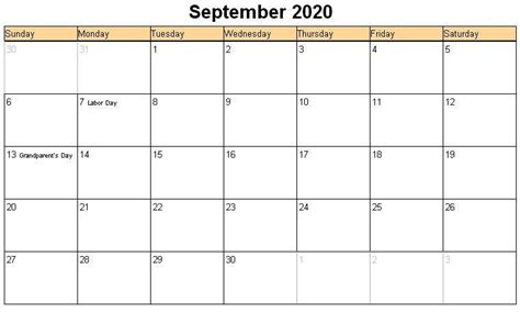awesome september  calendar  word excel template