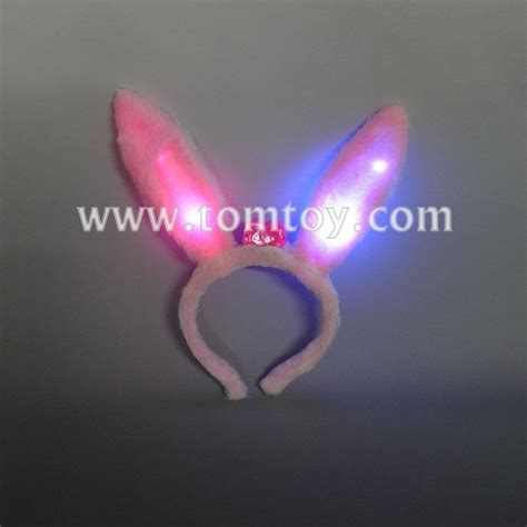 light up bunny ears pink cute light up rabbit ear headband tomtoy