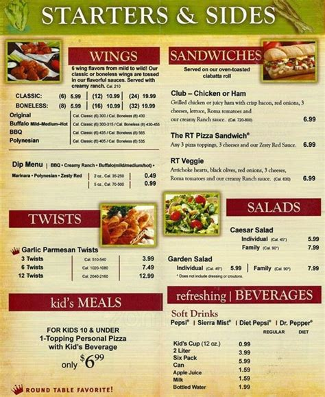 round table pizza prices and menu images about desain