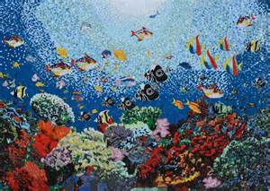 Glass mosaic aquatic ocean scene pool tiles mozaico