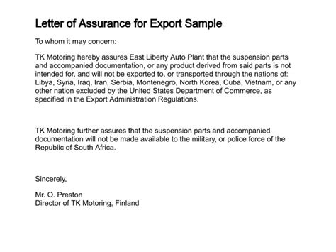Offer Letter Export Pin Acknowledgement Letter On
