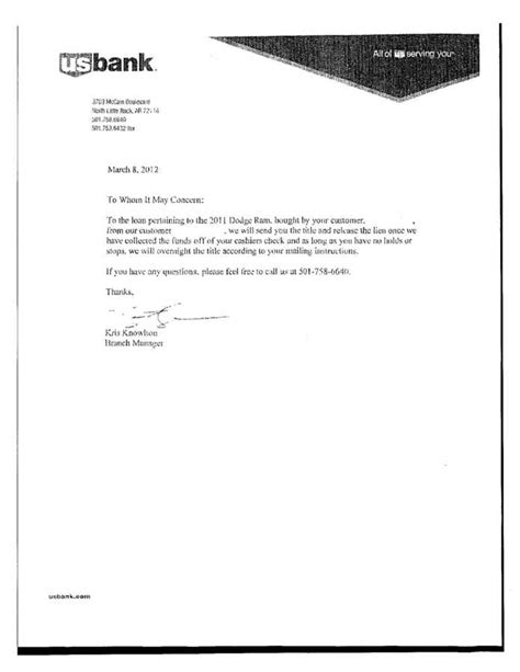 Vehicle Release Letter From Bank Auto Lien Release Letter Template Letter Template 2017