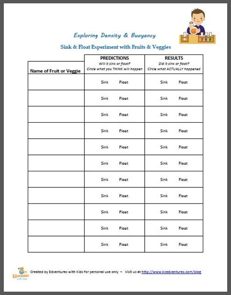 sink or float worksheet free on physics worksheet sink or float experiment