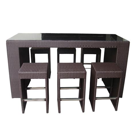 Margarita High Top Table Dining And Bar Set In Black Wicker High Top Dining Table Set