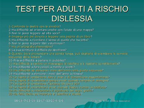 dislessia test adulti concetti base