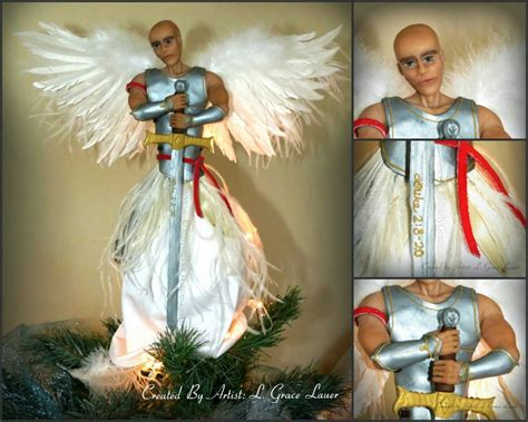 guardian warrior angel christmas tree topper ooak male