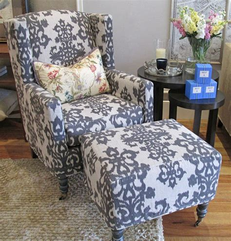 slipcovers for chairs and ottomans ikat wingback chair and ottoman slipcovers upholstery
