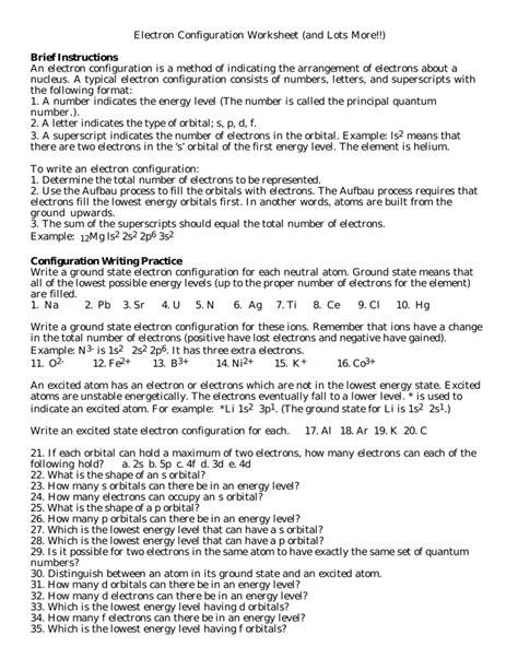 Electron Configuration Practice Worksheet Answers by Electron Configuration Worksheet Answer Key Worksheets