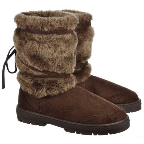 ella fur cuff flat ankle winter boot brown ella