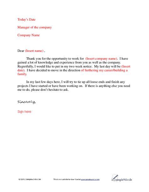 simple resignation letters simple resignation letter template