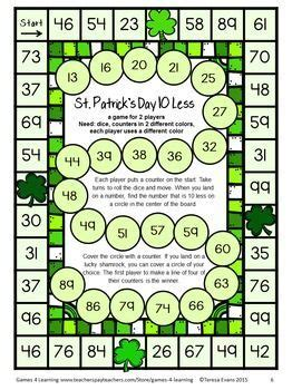 printable board games first grade st patrick s day activity st patrick s day math games