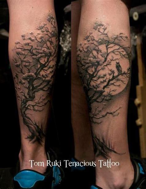 tattoo owl tree tree owl leg tattoos view topic a twist of fate