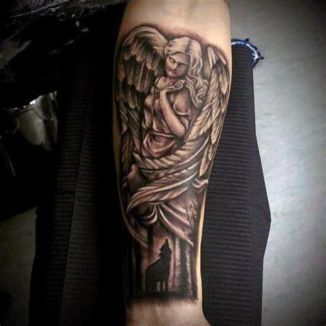 black angel tattoo zugló vintage style black and white antic angel statue tattoo on
