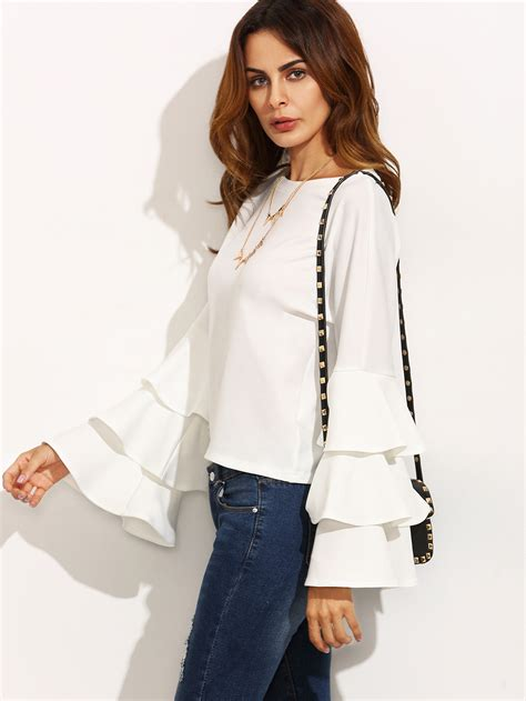 Dressy White Blouses With Ruffles by White Neck Ruffle Sleeve Blouse Emmacloth