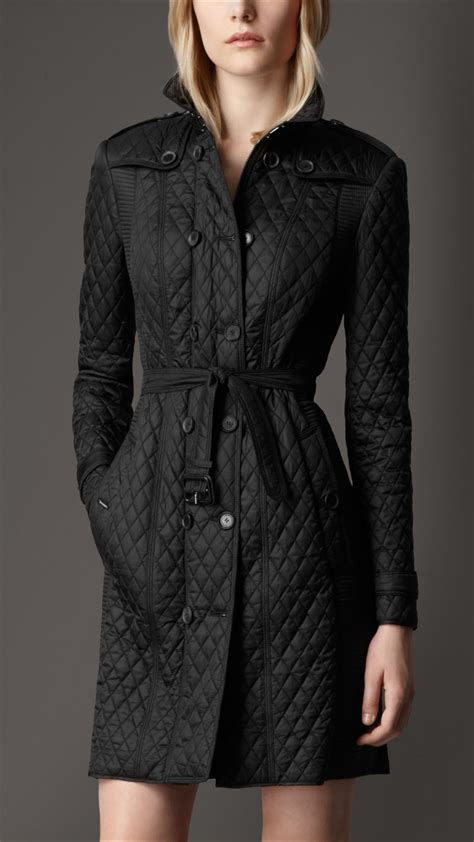 burberry quilted trench coat in black lyst