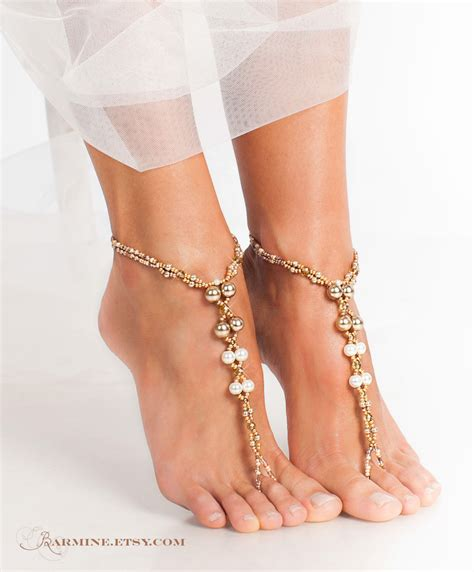foot sandals chagne gold bridal barefoot sandals wedding foot