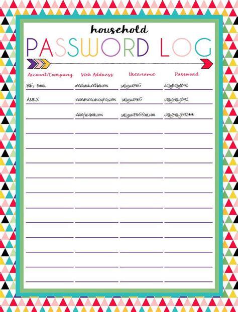 username and password template printable password log sheet username and password