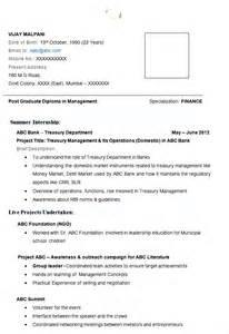 mba finance resume exle with free template