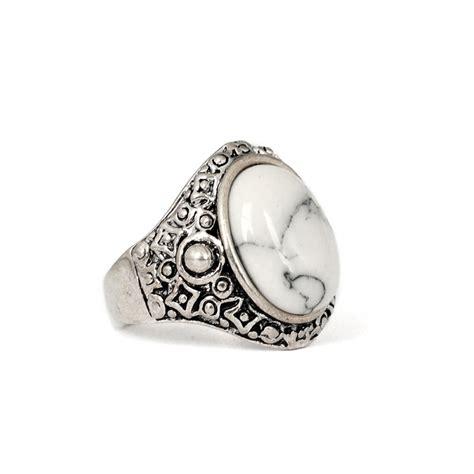 tibetan boho white antique silver ring
